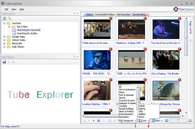 Search videos in YouTube by categories